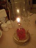 夕食時のテーブル グラスキャンドル