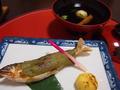 夕食:鮎など