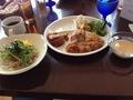 メインの冷製担々中華麺とバイキング