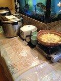 朝食バイキングご飯湯豆腐コーナー