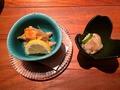 秋刀魚の南蛮漬けに河豚の塩辛