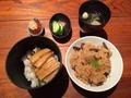 穴子山菜飯に牛飯
